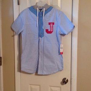 Striped light blue/white hooded shirt Sz: M